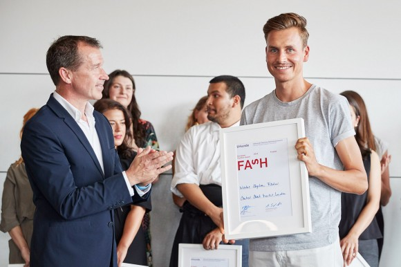 BERLIN, GERMANY - JUNE 16: CEO Strenesse Juergen Gessler (L) and Nicolas Stephan Fischer are seen during the European Fashion Award FASH at RAW Studios on June 16, 2018 in Berlin, Germany. (Photo by Sebastian Reuter/Getty Images for European Fashion Award FASH 2018)